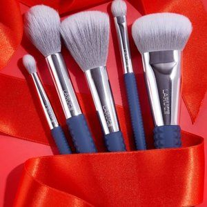 NWT Laruce Cheek/ Eyes 5 PC Brush Set Denim Bl…